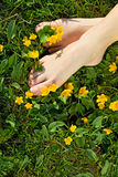 Relaxing spring feet - the joy of simple things Royalty Free Stock Photo