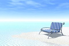 Relaxing summer. Striped deckchair on a tropical beach royalty free stock images