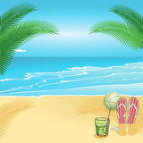 Relaxing summer beach scene Royalty Free Stock Photography