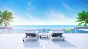 Relaxing summer,daybeds on Sunbathing deck and private swimming pool with near beach and panoramic sea view at luxury house /3d re. Ndering vector illustration