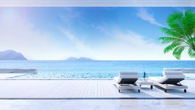 Relaxing summer,daybeds on Sunbathing deck and private swimming pool with near beach and panoramic sea view at luxury house /3d re. Ndering stock illustration