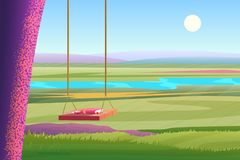 Relaxing summer sunny day bright view of stylized cartoon landscape. Book on the wooden tree swing with a view to the. River. Vector illustration stock illustration