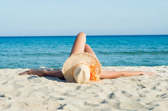 Relaxing and Sunbathing at Sun Stock Images