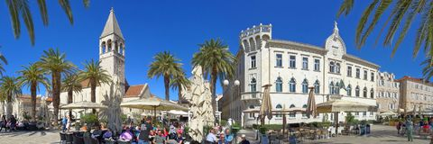 A relaxing sunny day at the Trogir waterfront royalty free stock photo