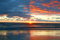 A relaxing sunset. A beautiful sunset in Seaside Oregon royalty free stock image
