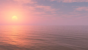 Relaxing Sunset Background. Minimalist but beautiful and detailed with long deep horizon and mystical moody atmosphere ideal for music album and book cover Royalty Free Stock Photo