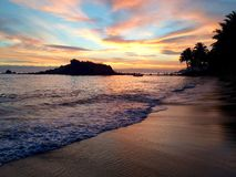 Relaxing sunset. Beautiful sunset on the beach in Sri Lanka Royalty Free Stock Photography