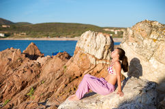 Relaxing at sunset time Royalty Free Stock Images