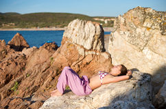 Relaxing at sunset time Stock Photography