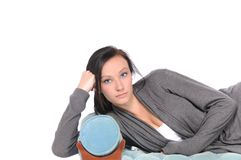 Relaxing teen. A isolated shot of a teen relaxing Royalty Free Stock Image