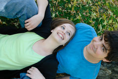 Relaxing Teen Couple Stock Photo
