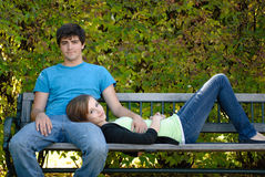 Relaxing Teenage Couple Stock Images