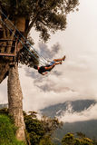 Relaxing Teenager Man On The Casa Del Arbol Swing Stock Images