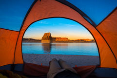 Relaxing in Tent Camping Lone Rock Lake Powell Royalty Free Stock Photos