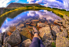 Relaxing time during an outdoor trekking in Carpathian mountains Stock Photography