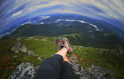 Relaxing time during an outdoor trekking Royalty Free Stock Images