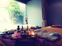 Relaxing time at spa aroma therapy massage treatment royalty free stock images