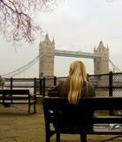 Relaxing at Tower Bridge Stock Photography