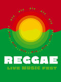 Relaxing travel poster in reggae music color. Stock Photos
