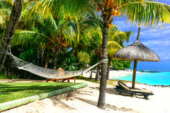 Relaxing tropical holidays. scenery with hammock under palm tree Royalty Free Stock Photography