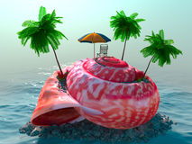 Relaxing vacation concept background with seashel Stock Image