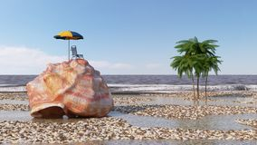 relaxing vacation concept background with seashell,umbrella and beach accessories Royalty Free Stock Images