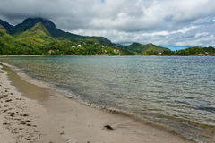 Relaxing View of Beau Vallon Bay at Seychelles Stock Photo