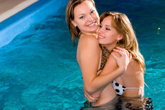 Relaxing in water pool Royalty Free Stock Images