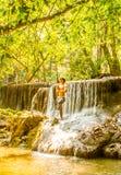 Relaxing at waterfall Stock Photos