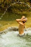 Relaxing at waterfall royalty free stock photos