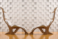 Relaxing white chairs face to face Royalty Free Stock Images