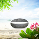 Relaxing wicker sofa bed at the beach Stock Image