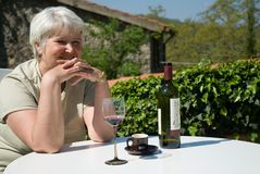 Relaxing with wine Royalty Free Stock Image