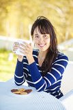 Relaxing woman. Woman in autumn drinking hot tea or coffee Royalty Free Stock Photo