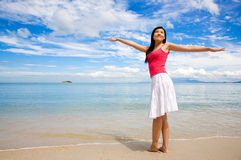 Relaxing woman on a beautiful day stock photography