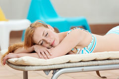 Relaxing Woman In Deck Chair Stock Photography