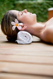 Relaxing woman with eyes closed Royalty Free Stock Images