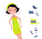 Relaxing Woman in green towel & cosmetic. Cute relaxing beauty woman and spa items. Vector Illsutration in retro style Royalty Free Stock Image