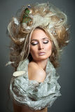 Relaxing of woman with hairstyle. Royalty Free Stock Image