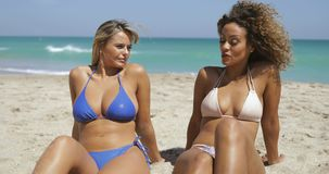 Relaxing women enjoying sunlight on beach. Two curvy multiethnic women sitting on sandy beach in sunshine and chatting while relaxing on tropical coastline stock video footage