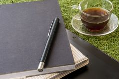 Relaxing work area on the grass royalty free stock photography