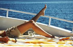 Relaxing on the yacht Stock Photography