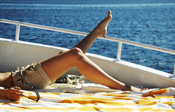 Relaxing on the yacht stock photos