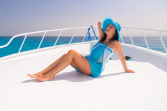Relaxing on the yacht cruise Stock Images