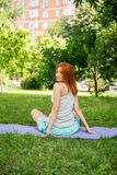 Relaxing with yoga Royalty Free Stock Image