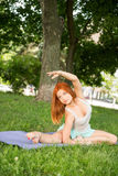 Relaxing with yoga Stock Image