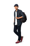 Relaxing young asian teenager boy standing stock photo