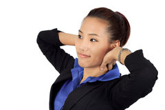 Relaxing young business woman over white. Stock Image