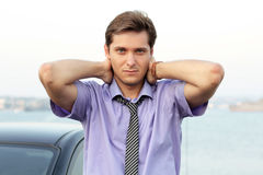 Relaxing young handsome man Royalty Free Stock Image