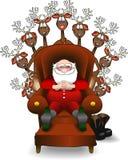 Relaxing_santa_reindeer Royalty Free Stock Images